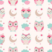 Photo seamless owls birds pattern