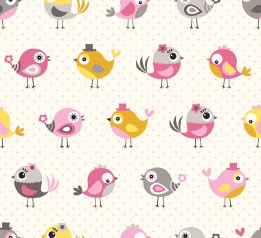 seamless cute birds cartoon pattern