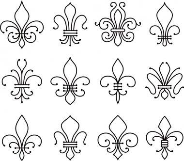 Abstract fleur de lys symbol set, royal icons, vector clip art vector