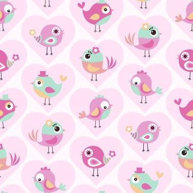 Seamless cute birds cartoon wallpaper background clip art vector