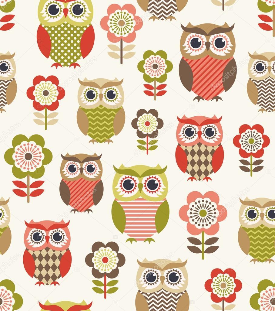 owls cartoon pattern