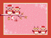 Sovy pár vánoční pozdrav