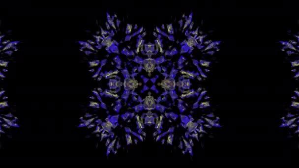 4k kaleidoskop na černém pozadí. abstraktní design. modré, červené, zlaté zářící barvy na noční obloze. Kaleidoskop show na oslavu Vánoc, Silvestr.