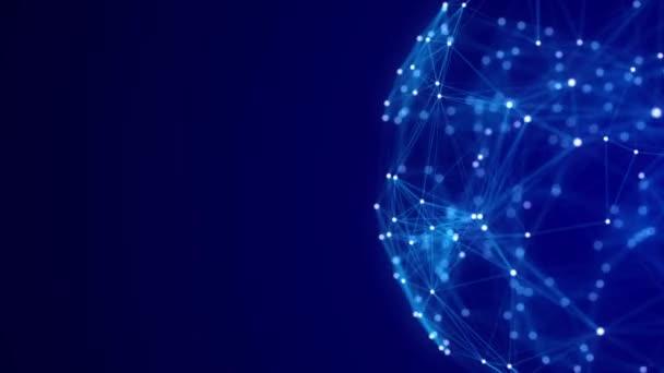 Blaue Kugel, bestehend aus Punkten und Linien. Moderne Drahtgitterelemente. Technologie-Netzbereich. 3D-Darstellung.