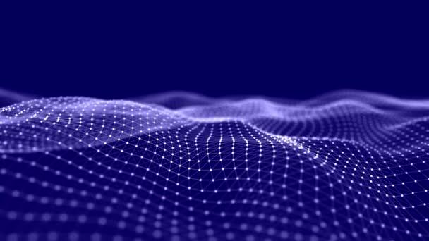Abstraktní vlna s pohyblivými tečkami a čárami. Tok částic. Ilustrace kybernetické technologie. 3D vykreslování