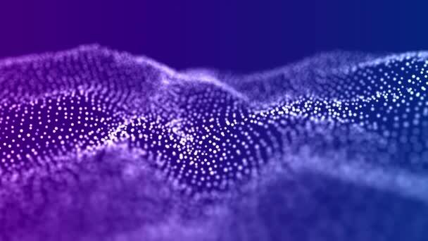 Abstraktní vlna s pohyblivými body. Tok částic. Technologická ilustrace. 3D vykreslování