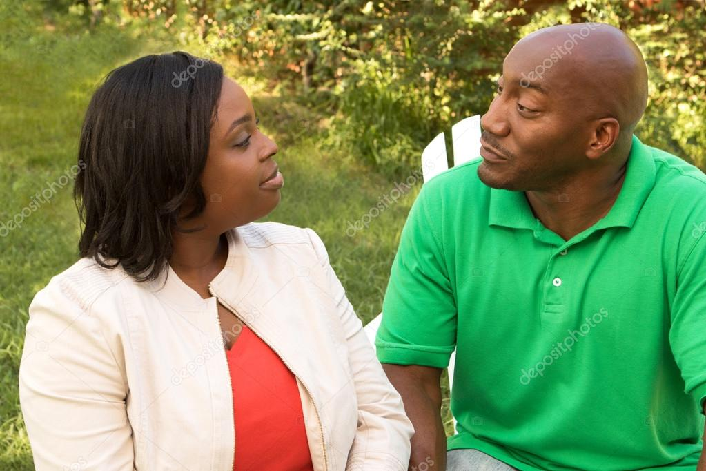 African American couple talking