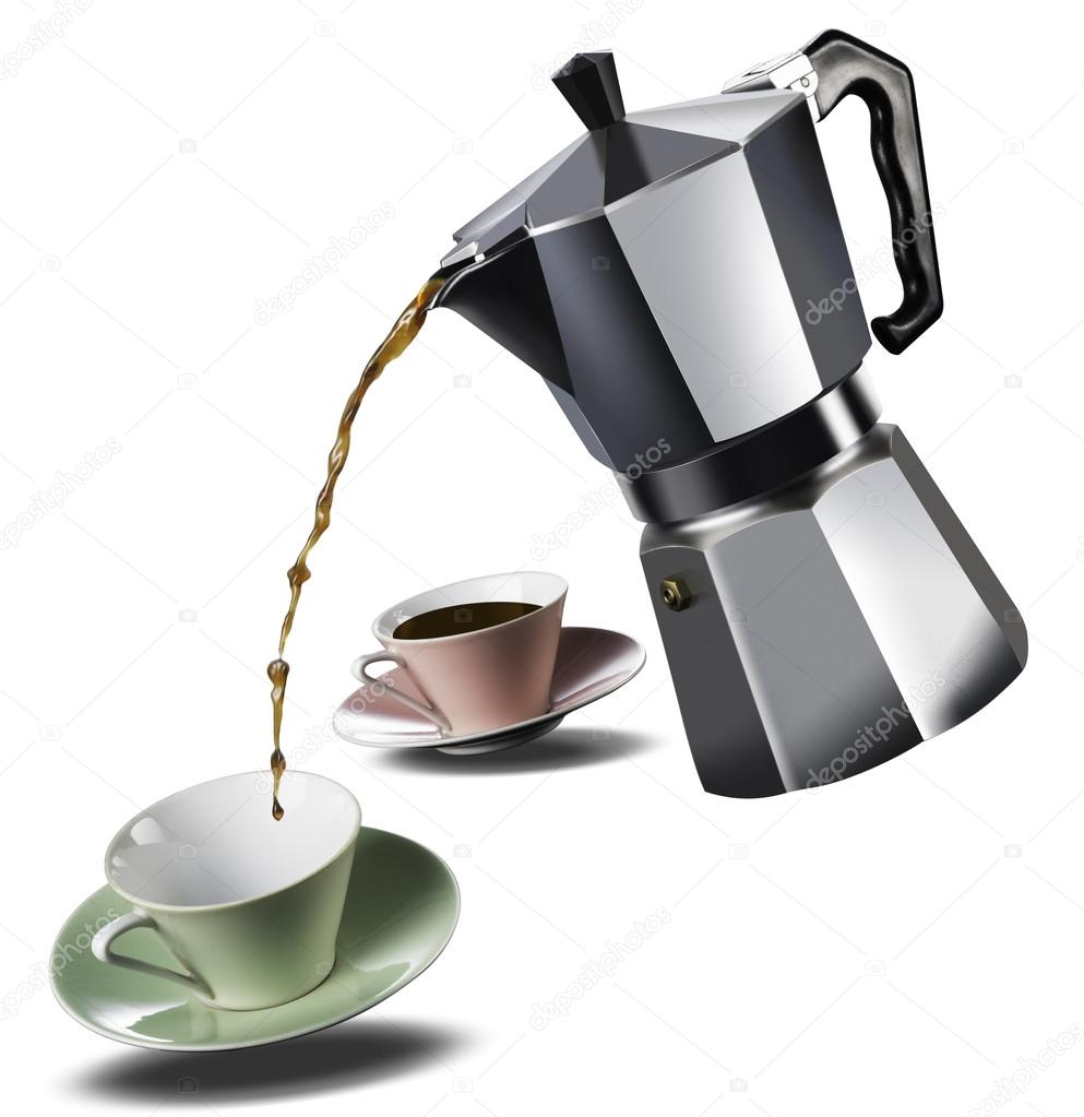 Italian Coffee Maker And Two Coffee Cups Stock Photo Arrfoto
