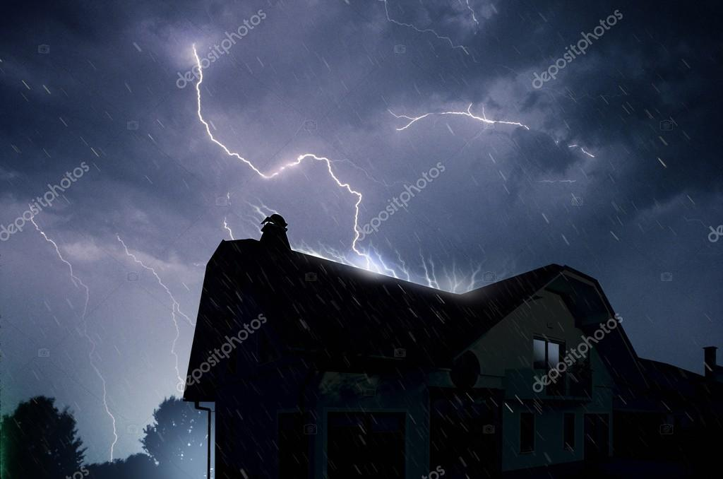 Lightning in the cloudy storm blue sky