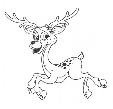 Black and white Deer Cartoon Illustration