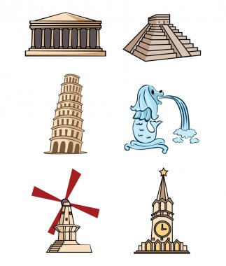 Hand Drawn Illustration of World Statue Tourism Place