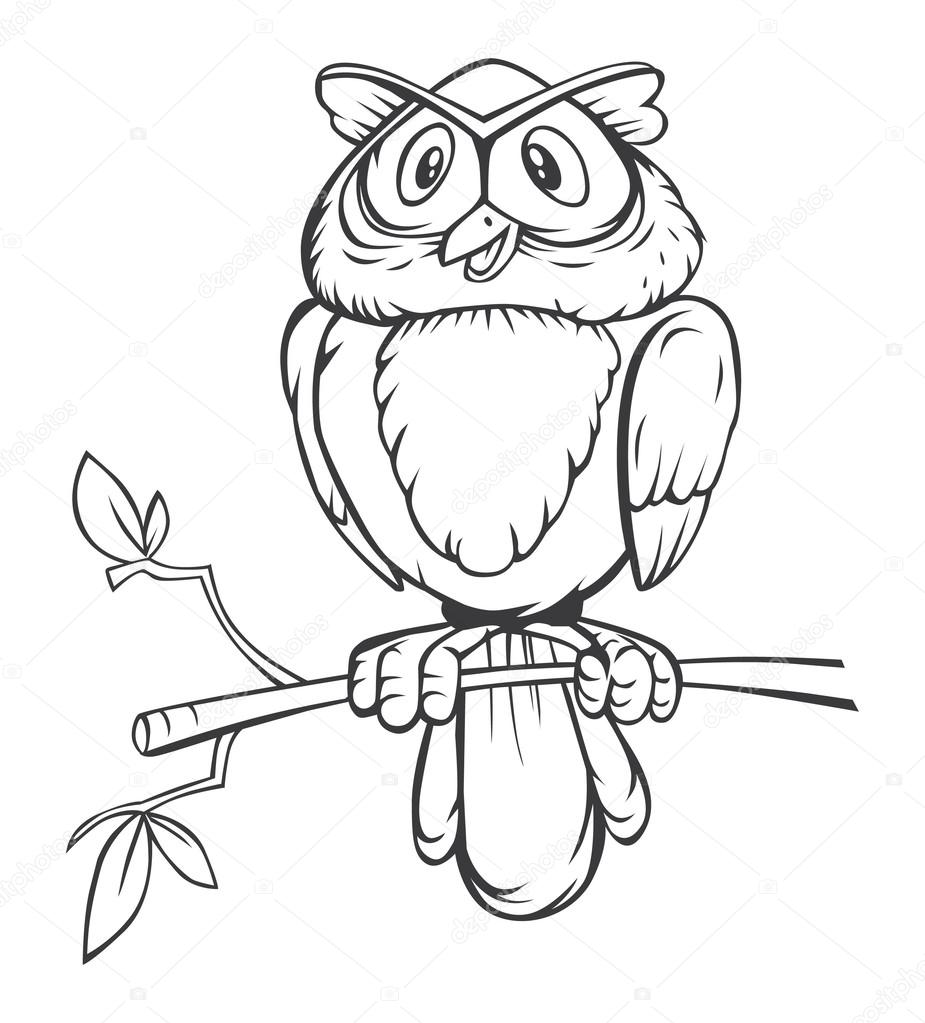 black and white owl cartoon � stock vector 169 imazyreams