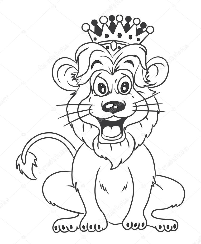 Lion With Crown Cartoon Illustration — Stock Vector © imazyreams ...