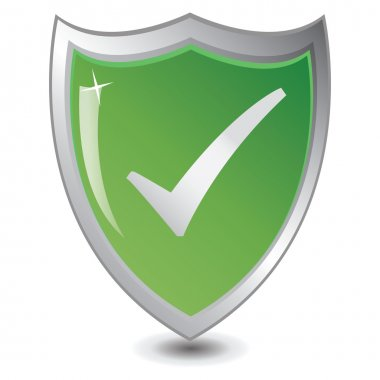 Green shield : Trusted Save concept.