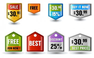 Glossy button price tags for business