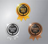 Photo gold, silver and bronze winner badge medal