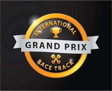 Grand prix international race track golden badge