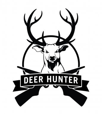 Deer hunter label badge