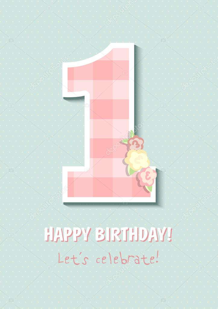 Vintage Birthday Card For First Birthday Number One For Girl