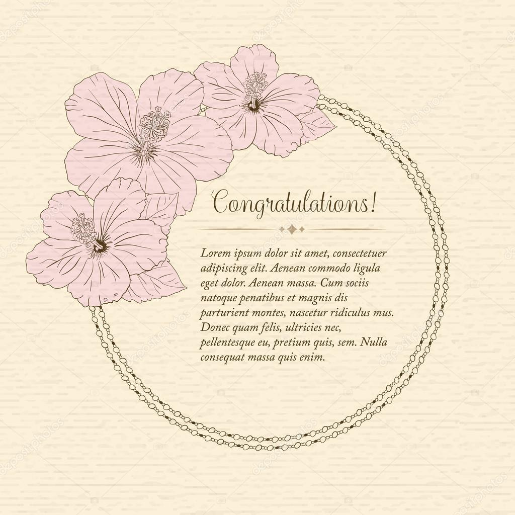 Marriage design template with custom names in round frame hibiscus flowers. Vector illustration.