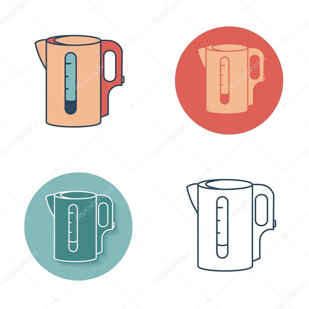 Elektrischer Wasserkocher monochrome Symbol. Tee-Symbole-set ...
