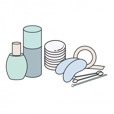 hygiene icons. Vector Picture. lash extensions materials