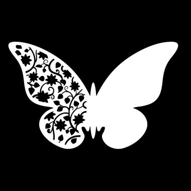 White Butterfly Wedding Place Card