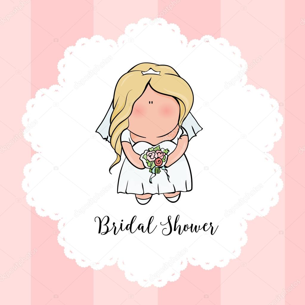 doodle character cute bride romantic announcement for bridal