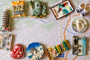 various souvenir magnets