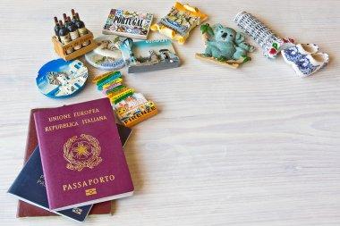 various passports and souvenir