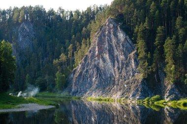 rock Duzhnoy on the river Chusovaya, Perm region, Russia