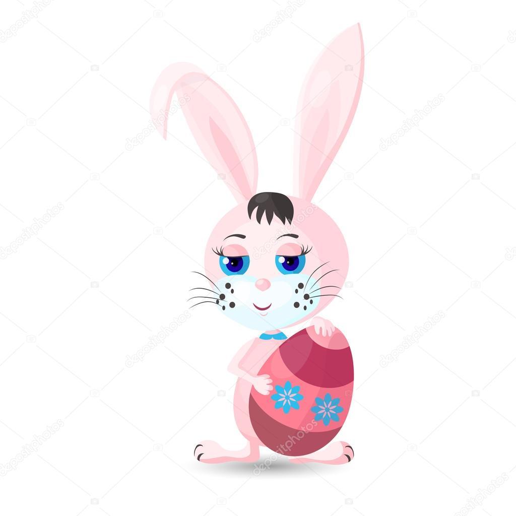 Conejito de Pascua rosa con huevo — Archivo Imágenes Vectoriales ...