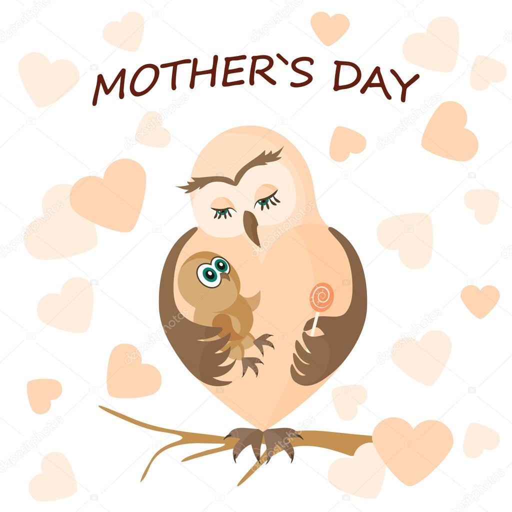 Картинки для, открытка мама сова и совенок обнимающиеся своими руками