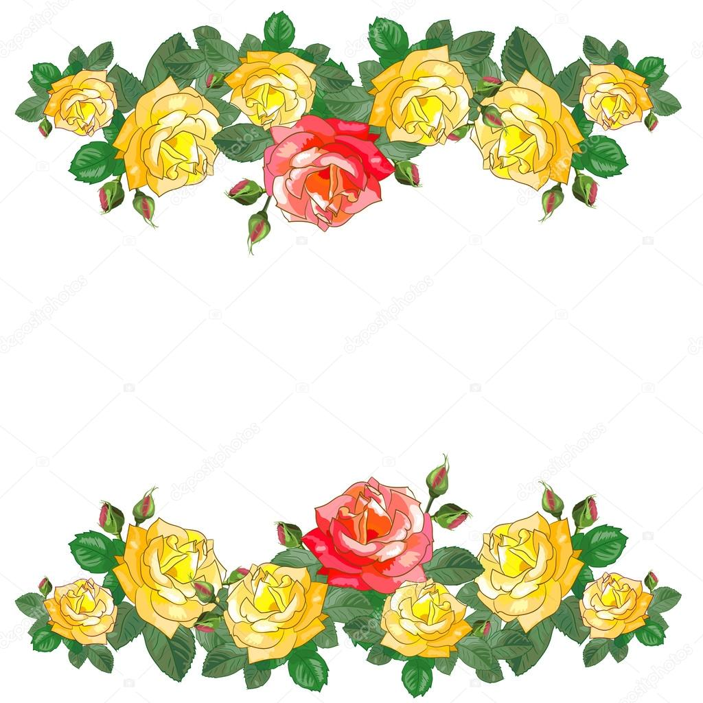 Greeting Card With Red And Yellow Roses Stock Vector C Lyubovya