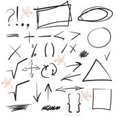 Set of mathematical symbols, shapes, arrows and punctuation. Vector