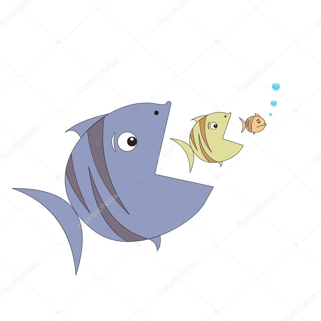 Peixe grande come o peixe pequeno vector vetor de stock for Big fish script