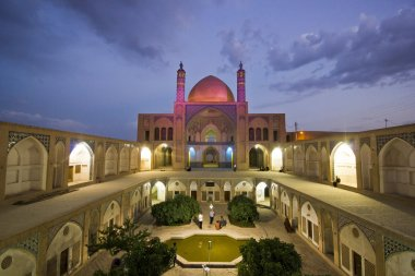 Agha Bozorg school and mosque in Kashan in evening, Iran