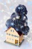 Casa in inverno - riscaldamento sistema concetto e freddo tempo nevoso