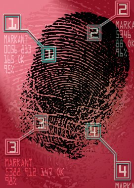 Crime scene - Biometric Security Scanner - Identification stock vector