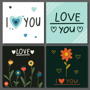 Set of cards Happy Valentine's Day, February 14. Vector cards with hearts, handwritten text, flowers. Suitable for social media posts, instagram, mobile apps, online ads, marketing materials. icon