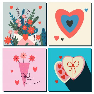Set of cards Happy Valentine's Day, February 14. Vector cards with hearts, a bouquet of flowers, sweets. Suitable for social media posts, instagram, mobile apps, online ads, marketing materials. icon