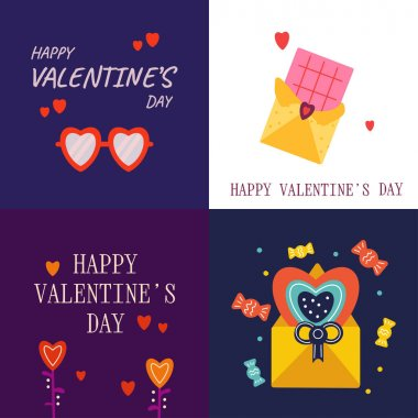 Set of cards Happy Valentine's Day, February 14. Vector cards with hearts, text, envelope, glasses, chocolate. Suitable for social media posts, instagram, mobile apps, marketing materials. icon