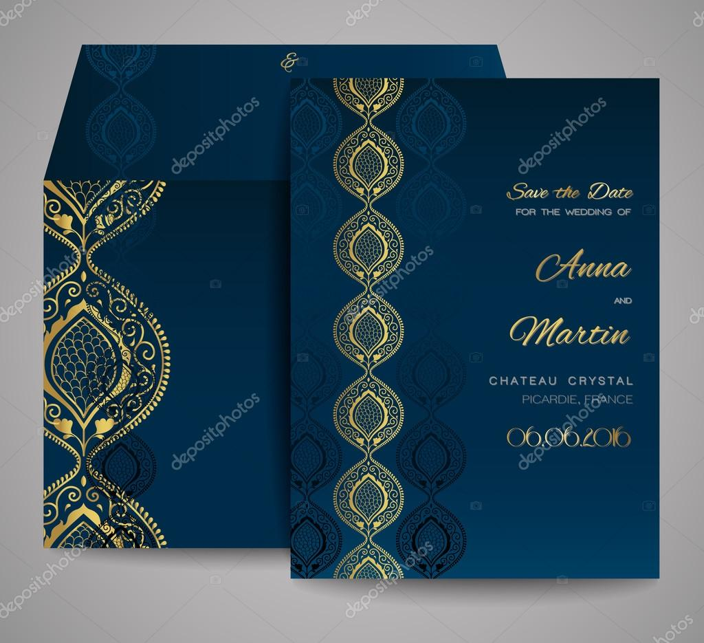 Set of wedding cards. Ornamental invitation, thank you card, save the date card. Templates for your design.