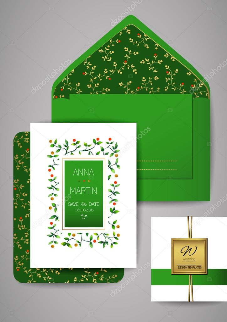 Collection of Wedding invitation card suite with watercolor floral frame. Vector Templates: invitation, save the date card.
