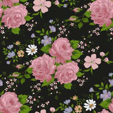 Floral pattern with of pink roses