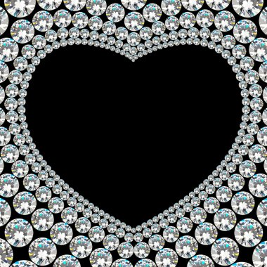 Shiny diamond heart frame on black background