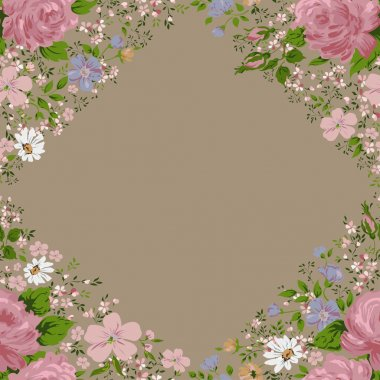 Beautiful  pink roses frame on beige. Vector