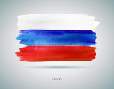 The Russian flag painted with watercolor