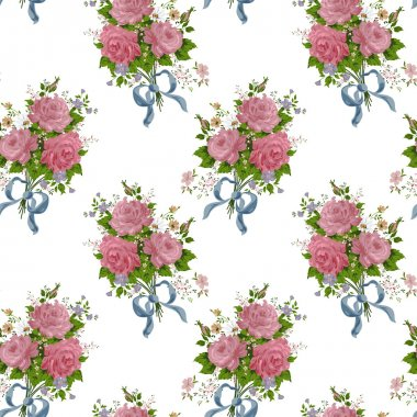 seamless cute vintage tiny flower pattern on white background