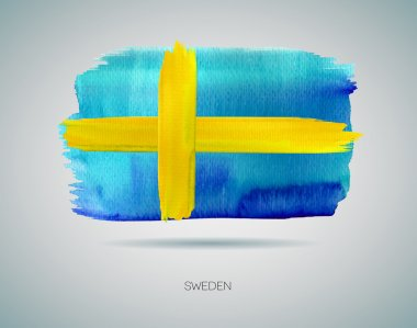 Watercolor Flag of Sweden. Vector illustration